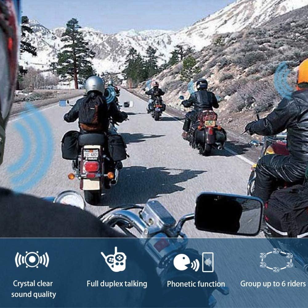 Maso Casco de moto con Bluetooth y sistema de comunicaci/ón para moto 2019 V6 1200M T-COMVB manos libres//impermeable//GPS//MP3