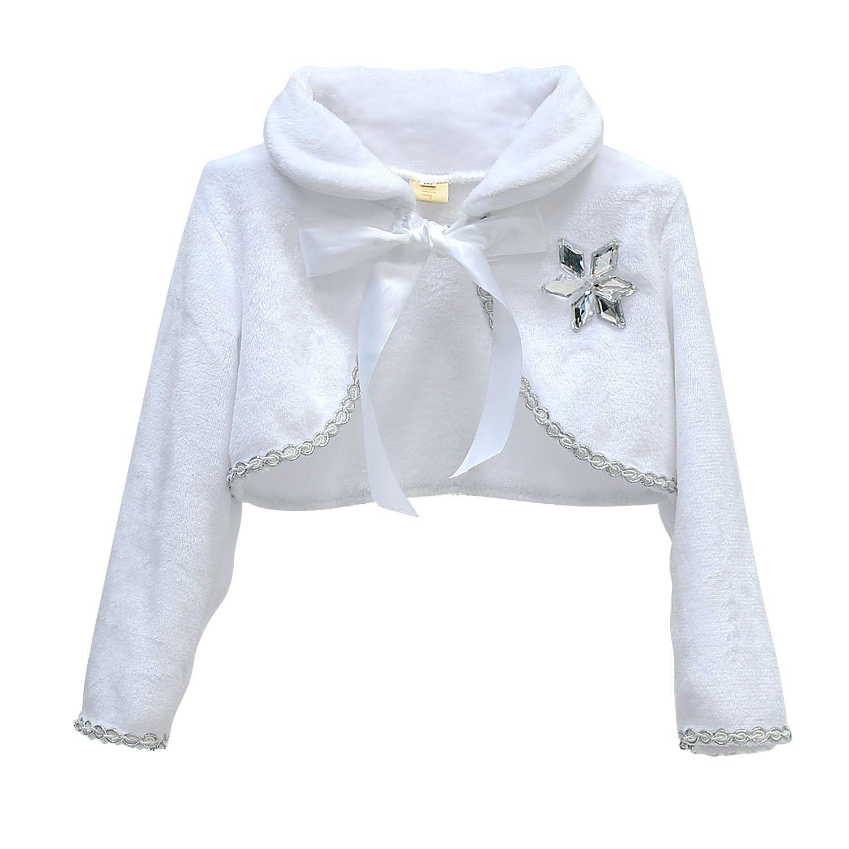 loel Little Girls Faux Fur Princess Shrug Crop Cape Coat for Wedding Gown by loel