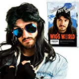 AWS Mullet Wig - Black Fancy Dress Long Wig for Men and Women, Waynes World, Pulp Fiction, Vincent Vega, Snape Costume or 80s and 90s Heavy Metal Rocker wigs