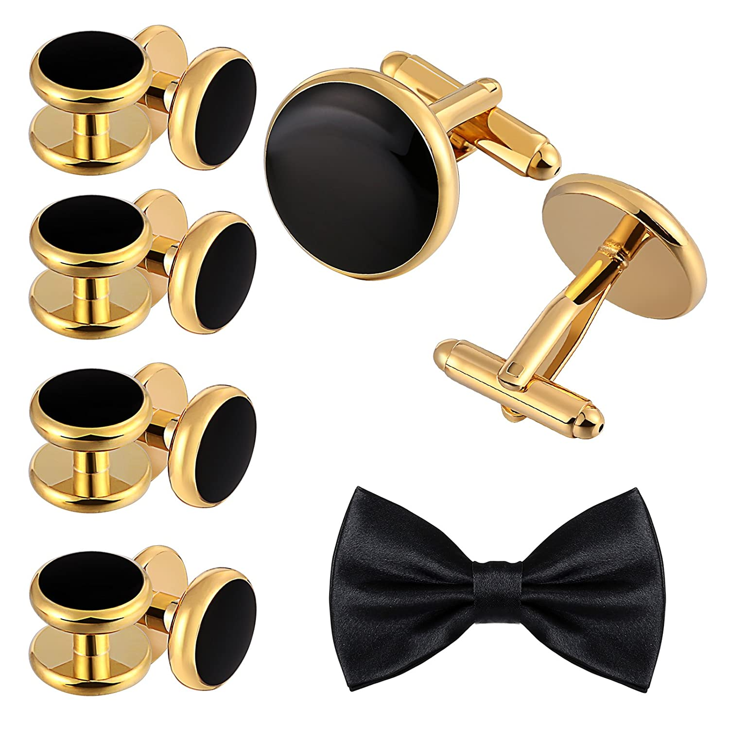 d084bb7db The set includes 2 cufflinks with 8 studs and 1 bow tie. •Silver  Black/Silver Bule/Gold Black round classic cufflinks and ...