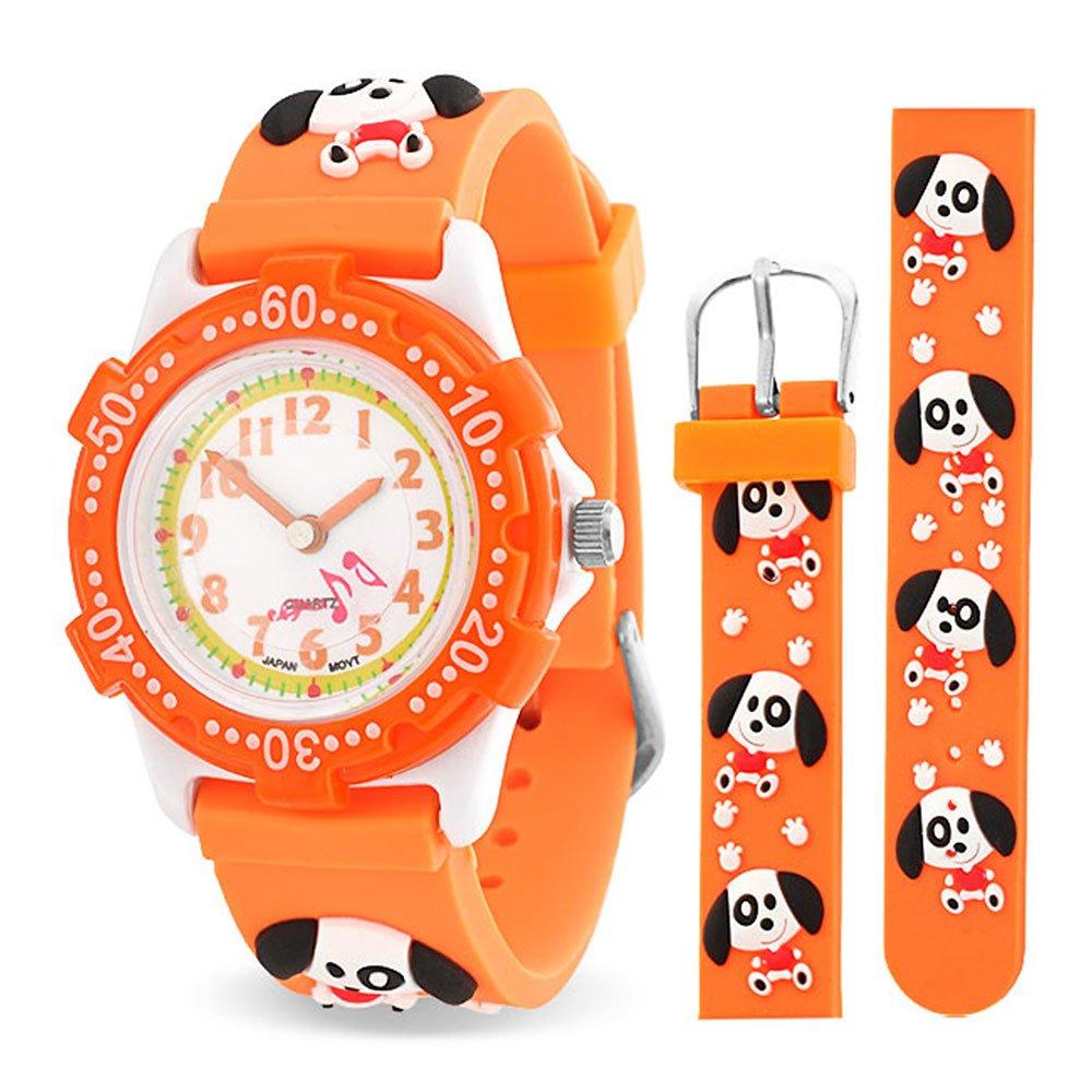 Bling Jewelry Orange Dog Paw Print Animal Kids Watch Stainless Steel Back