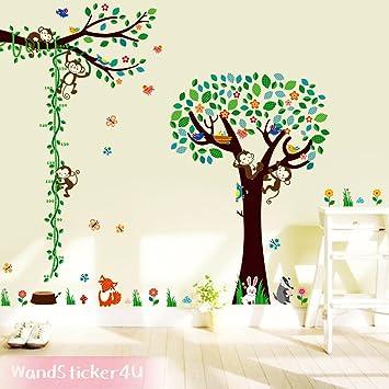 Wandsticker4U  XXL Wandtattoo U0026quot;fröhliche Waldtiere Im  Kinderzimmeru0026quot; Mit Messlatte | Wandbilder: