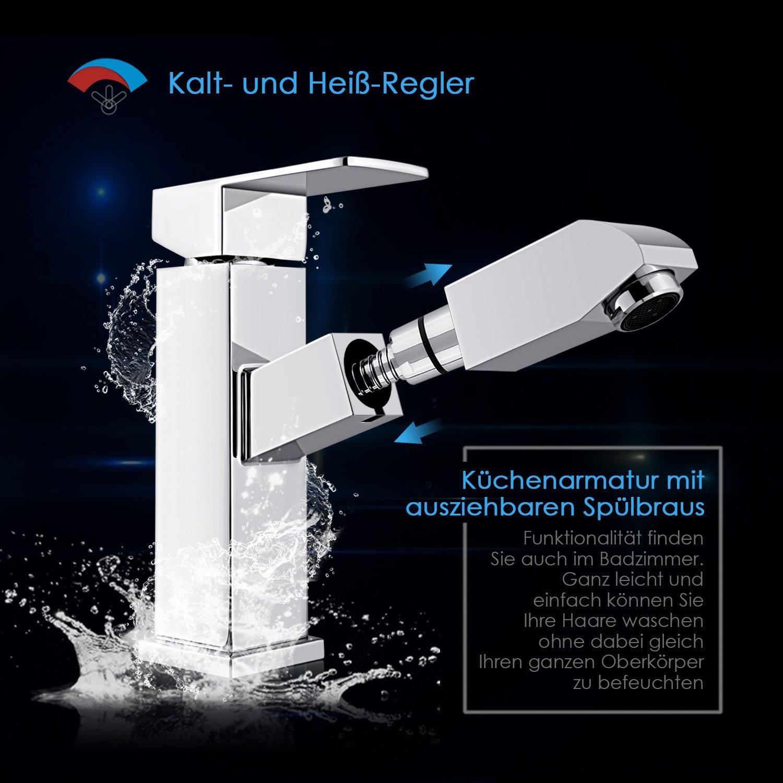 Amazon.de: HOMFA Waschtischarmatur Wasserhahn Ausziehbare Bad ...