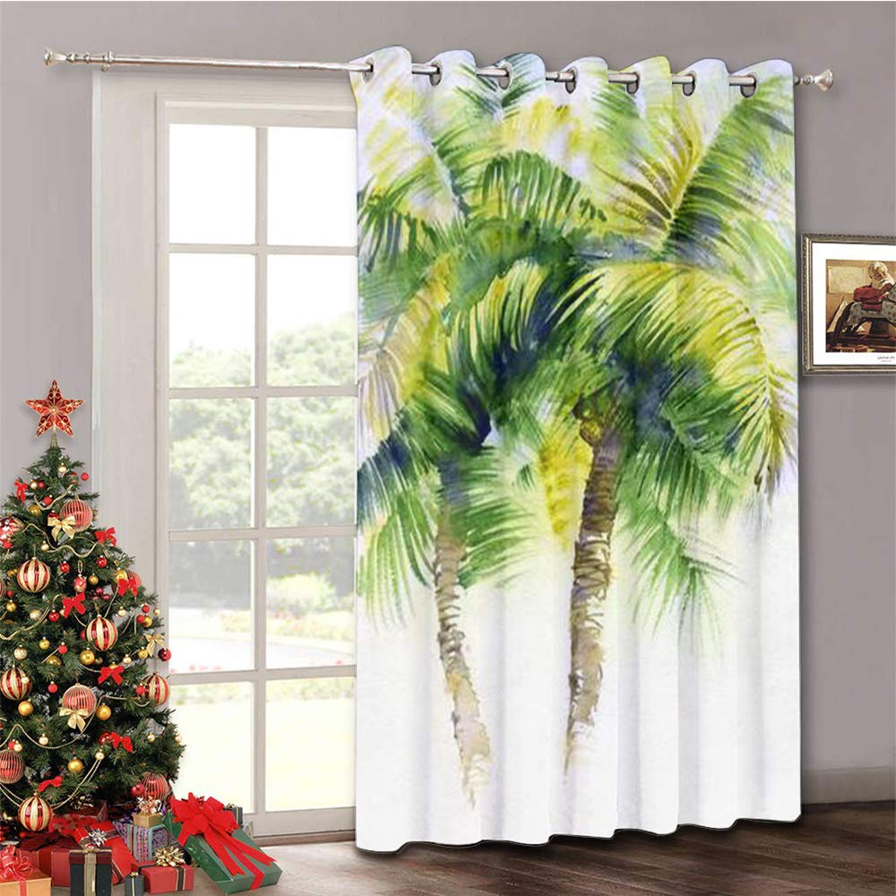 HoBeauty home Partition Curtain Noise Watercolor Painting with Tropical Palm Trees Painted in India Thermal Insulated Blackout Curtains (8.3ft Wide x 9ft Tall)