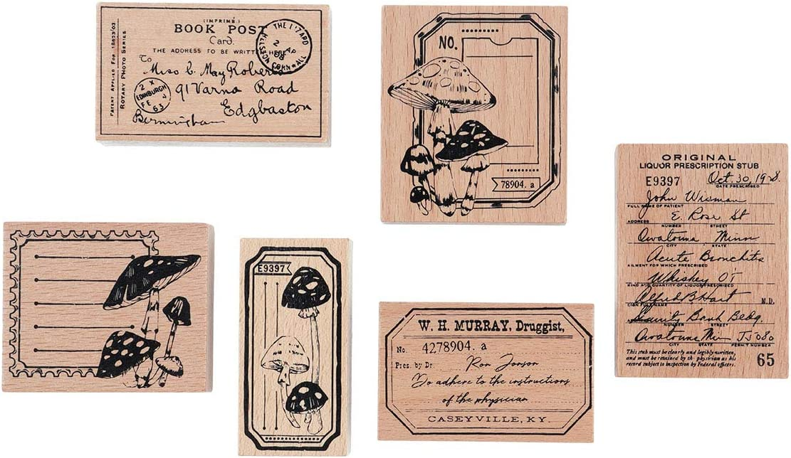 RisyPisy 6 Pieces Wooden Rubber Stamp Set, Label & Stub Decorative Wooden Stamps, Vintage Wood Mounted Rubber Stamps for DIY Crafts, Bullet Journals, Card Making, Scrapbooking