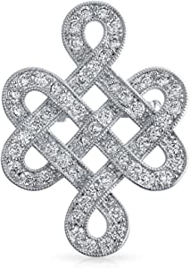 Eternal Celtic Love Knot Work Cubic Zirconia Pave CZ Wedding Brooch Pin for Women Rhodium Plated Brass 1.2 Inch