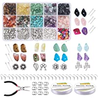 Chips Stone Beads DIY Set 933 Pcs, Natural Gemstone Beads Kit with Earring Hooks Spacers Beads Pendants Elastic String…