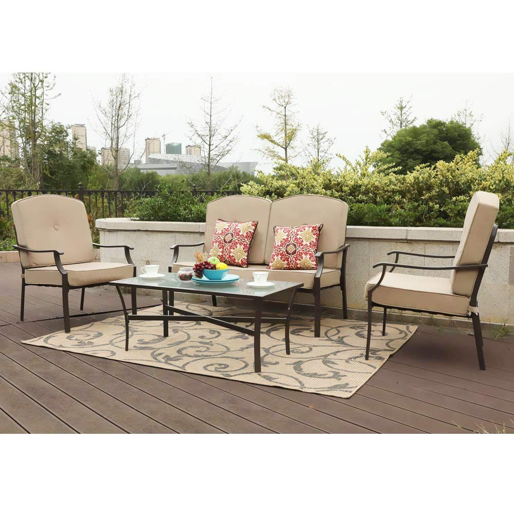 PHI VILLA 4-Piece Bistro Sets Cushioned Patio Furniture Conversation Set w/Loveseat-2 Chairs and 1 Coffee Table (Beige)