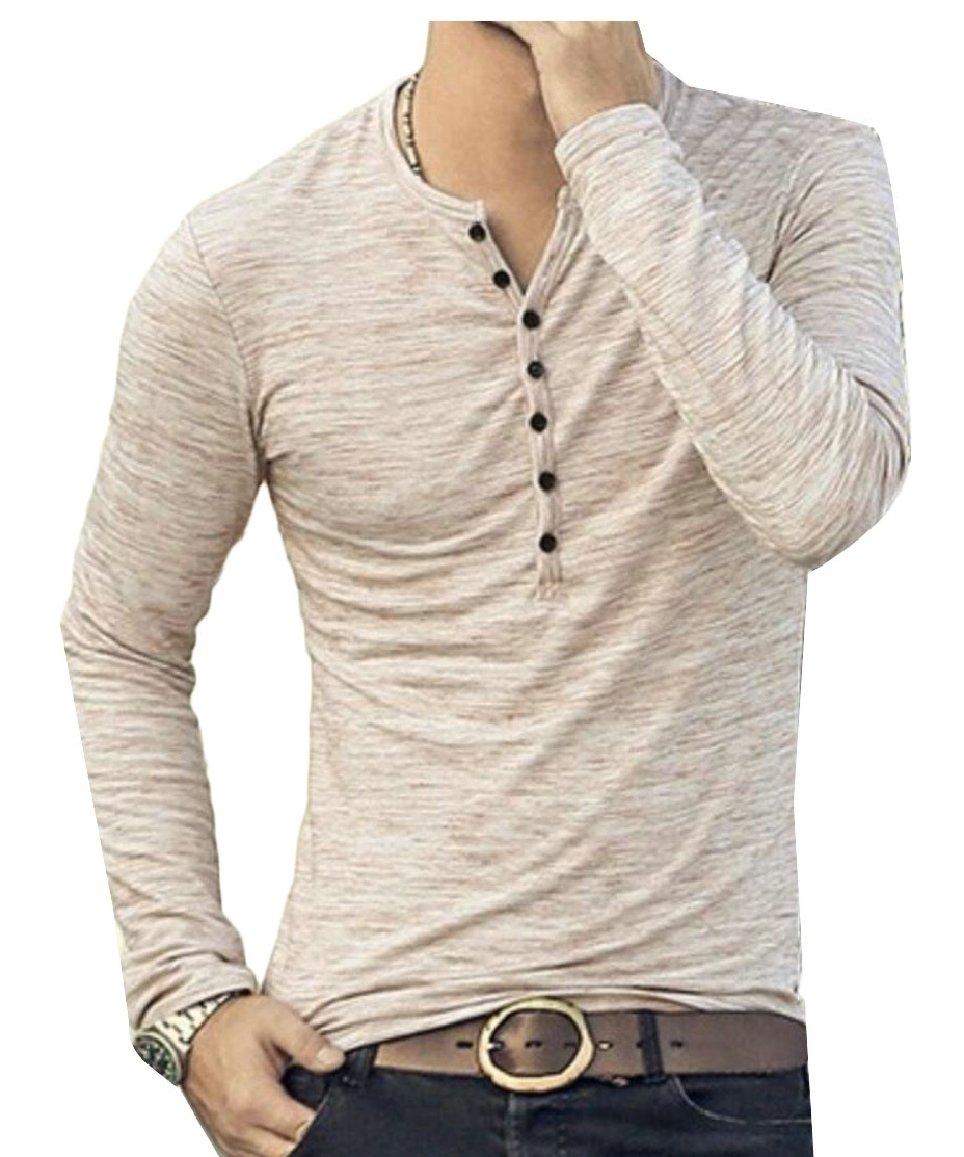 XQS Men's Summer Short Sleeve V-Neck Button Cuffs Cardigan T-Shirts 3 M