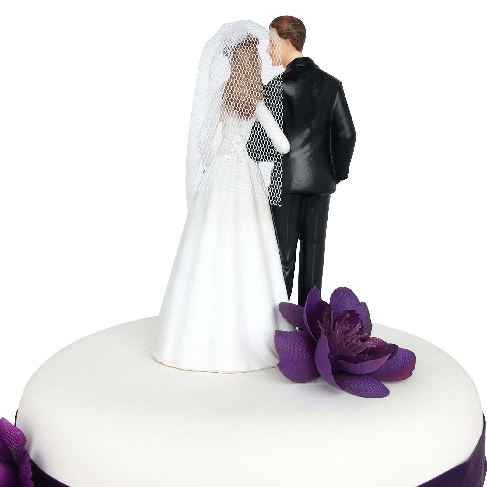 Wedding Cake Topper Funny & Romantic Groom And Bride holding hands with flowers Figurine | Toppers For Wedding Cakes Decoration | Hand Painted & Unique Figurines by zy retail (Image #2)