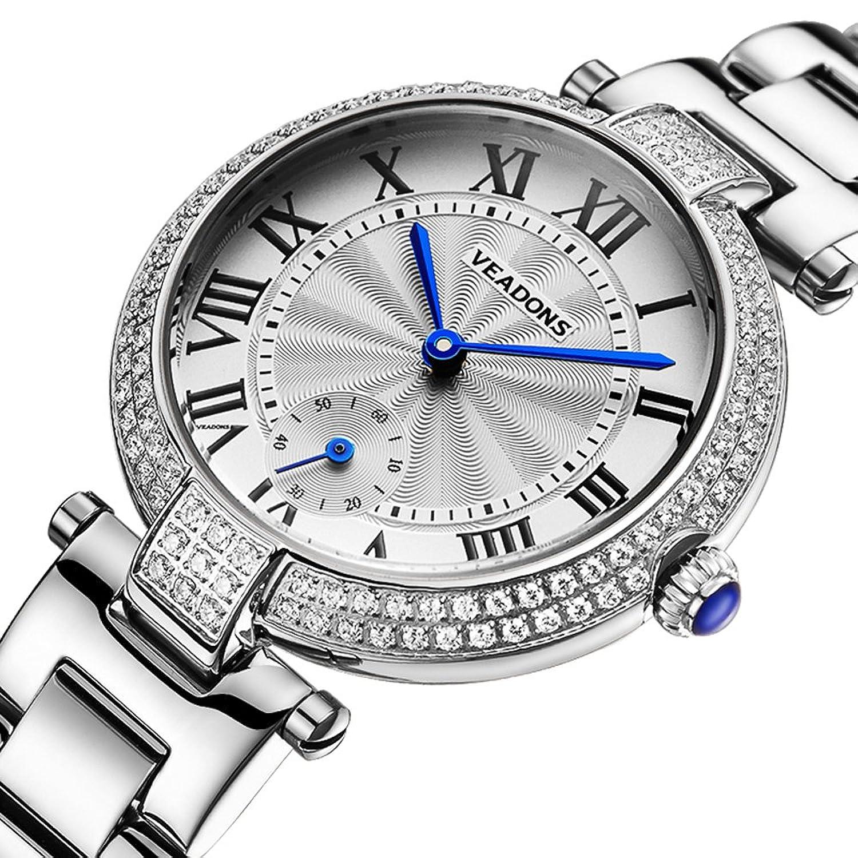 veadons Damen Luxus-Marke quartz-watch Geschenke fÜr MÄdchen Full Edelstahl Strass ArmbandUhren