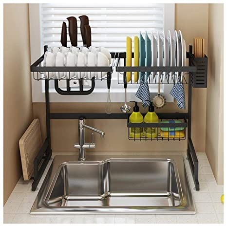 Amazon.com: Sink Rack Dish Drainer Shelf, 2 Layer Kitchen ...