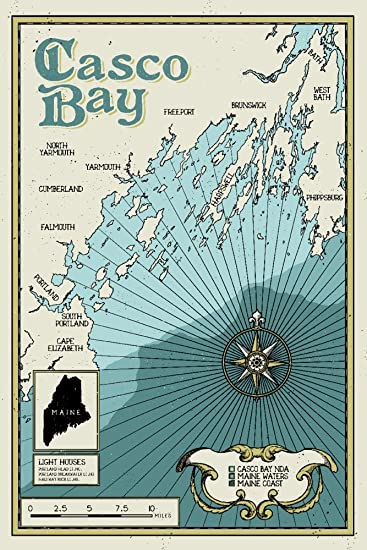 Casco Bay, Maine - Nautical Chart (16x24 Giclee Gallery Print, Wall Decor Travel