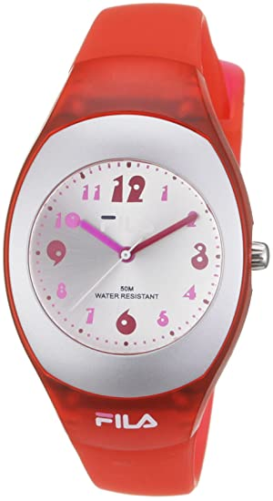 Fila Diretto - Reloj analógico unisex de cuarzo con correa de plástico roja