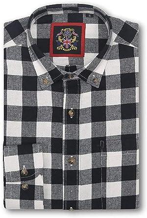 Camisa de Manga Larga Janeo British Apparel, para Hombre leñador a Cuadros Buffalo Check, Mezcla de algodón Cepillado Ligero, Brawny Tartan Estilo. Botón Abajo del Cuello: Amazon.es: Ropa y accesorios