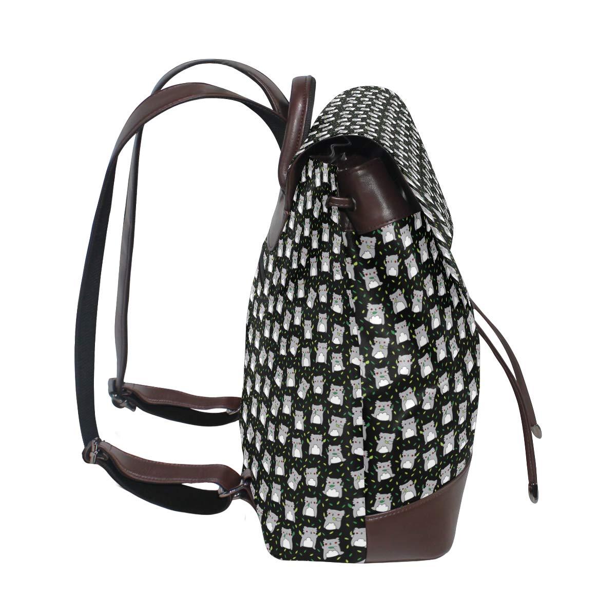 Leather Cute Koala Black Backpack Daypack Elegant Ladies Travel Bag Women Men