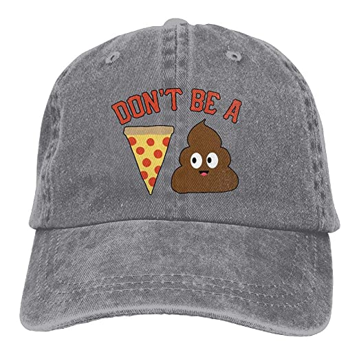939b4f041015f1 Unisex Washed Retro Denim Hats Adjustable Baseball Cap Don't Be A Pizza  Poop Stylish