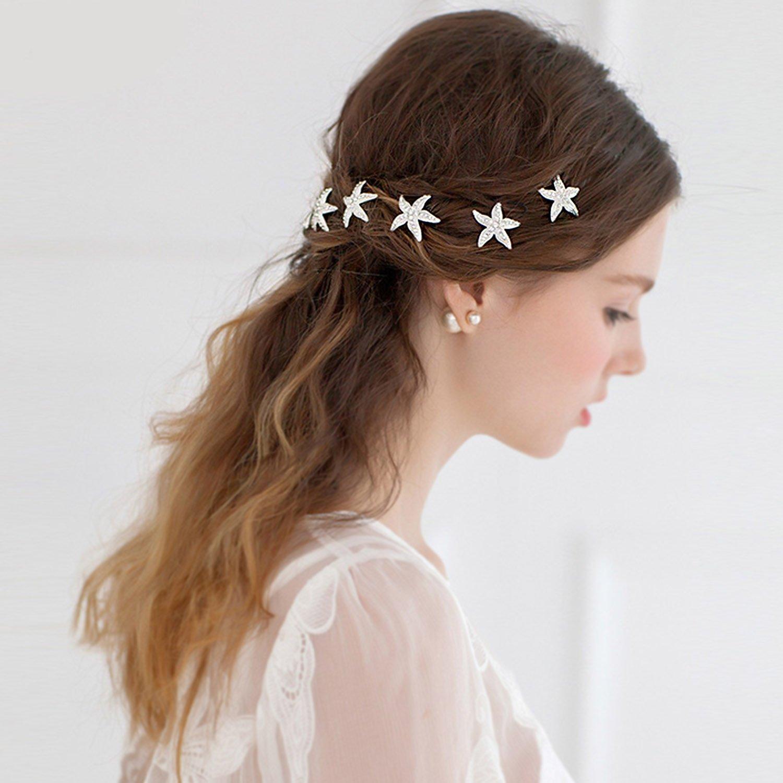 Dorquillas de Pelo, Czemo 6 piezas Pernos Pelo Cristal Estrellas de Mar Horquillas Novia Clips de Pelo Forma de U Clips