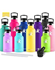 KollyKolla Metal Water Bottle Vacuum Insulated Water Bottles with Straw & Filter Hot & Cold Drinks Bottle Stainless Steel Thermo Flask Leakproof Kids for Gym,Cycling,Football,350ml/500ml/600ml/750ml