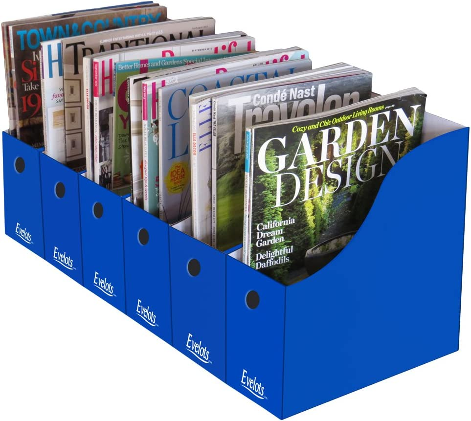 Evelots Magazine File Holder-Organizer-Full 4 Inch Wide-Blue-With Labels-Set/6