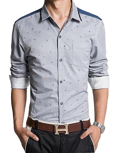 ca83cef06f8 jeansian Men s Casual Slim Long Sleeves Dress Shirts Tops MCF013 LightGray  XS