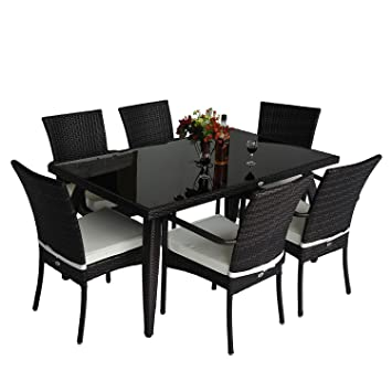 homcom rattan garden furniture aluminum dining set patio rectangular table with 6 outdoor chairs