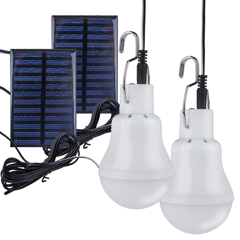 2 unidades Bombilla Solar, techken Solar lámpara LED Luz Portátil Pera Solar lámpara bombillas 3 W, 3 m Cable de carga solar Panel Iluminación para camping, ...