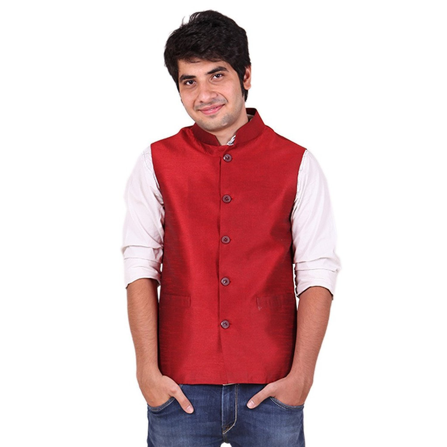 Royal Kurta Men's Polyester Nehru Jacket X-Large Red by Royal Kurta