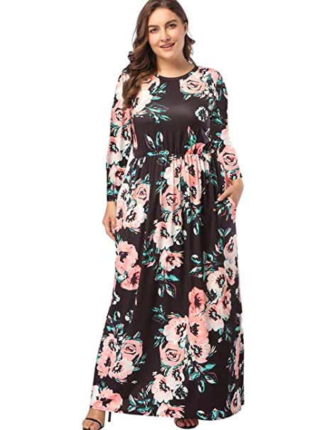 Kancystore Women\'s Plus Size Maxi Dresses Long Sleeve Floral High Waist  Dress with Pockets