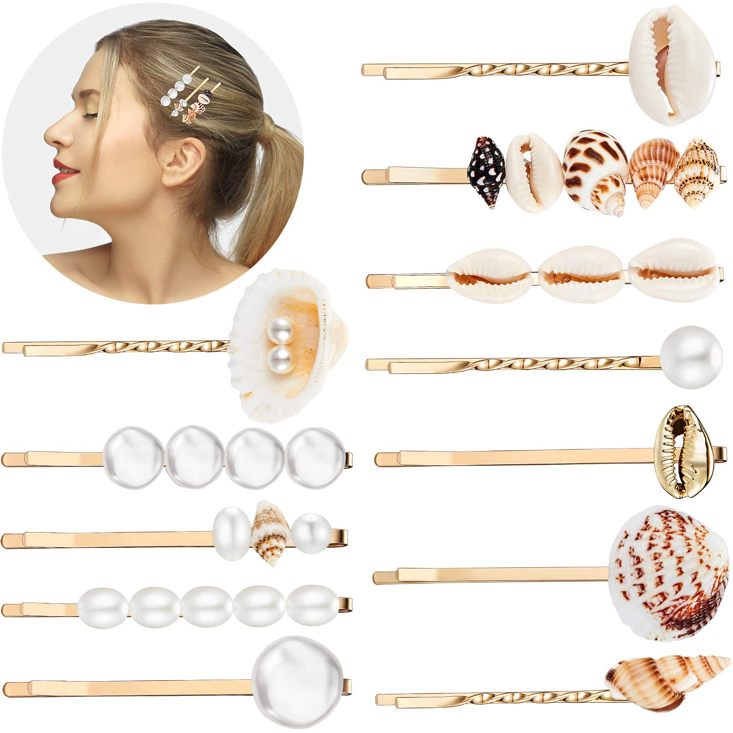 12 Pieces Faux Pearl Hair Clip Shell Barrettes Conch Pearl Hairpins Side Bangs beach seashell Hair Barrettes bobby pin for Women and Girls by WILLBOND
