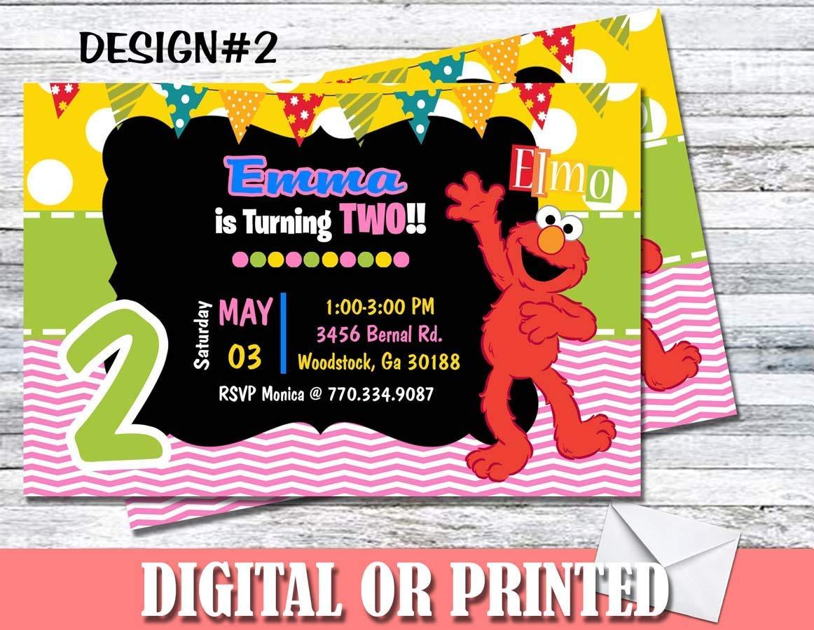 Amazon Elmo Sesame Street Personalized Birthday Invitations More Designs Inside Handmade