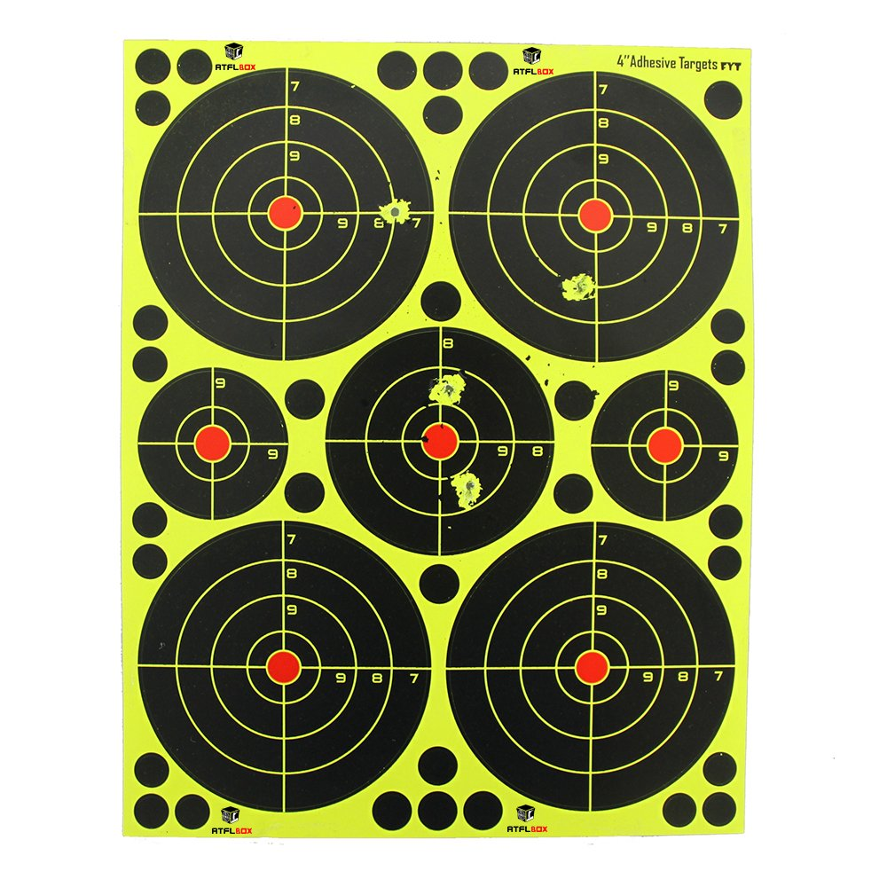 Atflbox Shooting Target 4Inch multiple circles Splatter and Adhesive Target Paper.Shooting outdoor and indoor .Rective shooting targets for Gun - Rifle - Pistol - AirSoft - Air Rifle for 25Pack