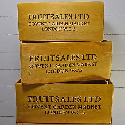 Prezents.com Juego de 3 Cajas de Madera para decoración de Frutas, para jardín