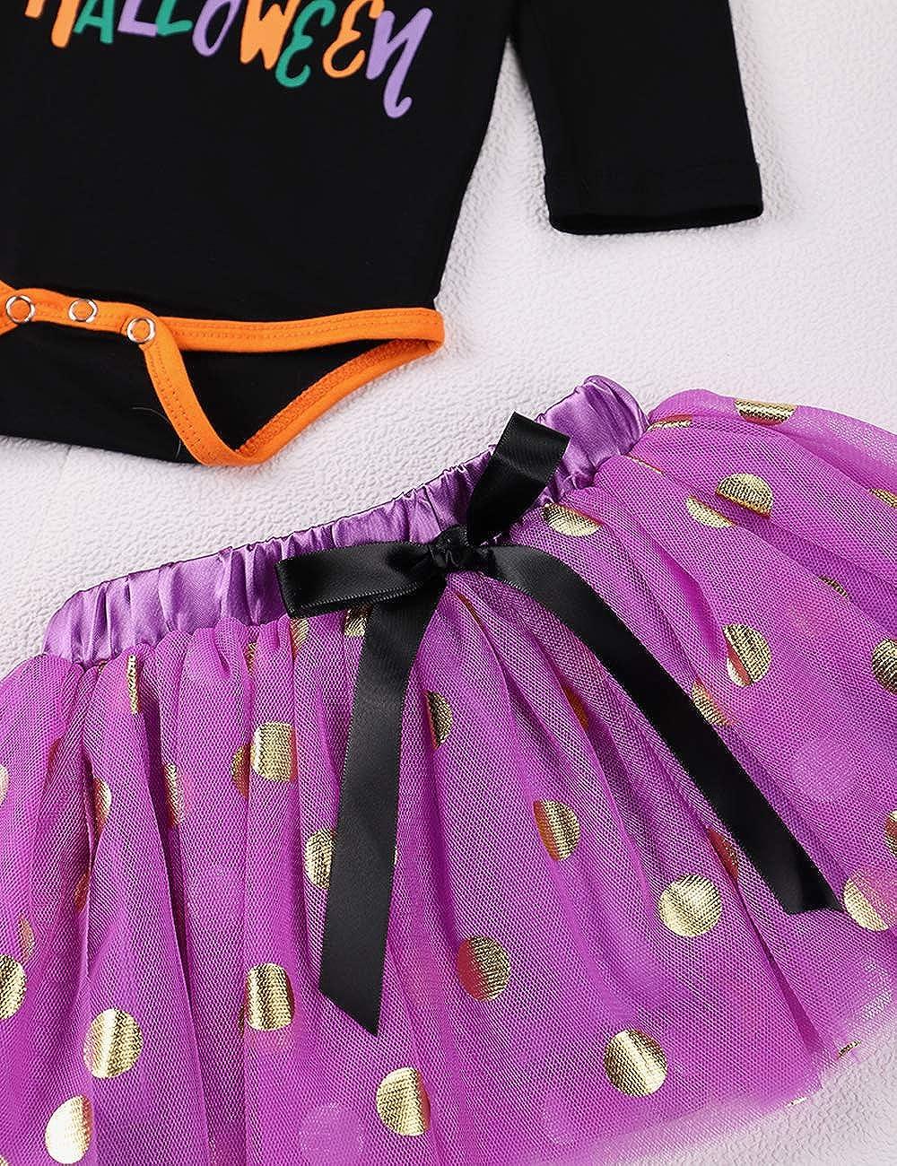 Tuemos My First Halloween vestito neonato neonato bambina Halloween pagliaccetto tut/ù gonna a pois con fascia per Halloween set di vestiti