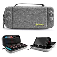 tomtoc Protective Case for Nintendo Switch Hard Shell Travel Storage Carrying Case Cover Box with 18 Game Cartridges and Handle for Nintendo Switch Console and Accessories - Upgrade Version New Arrival
