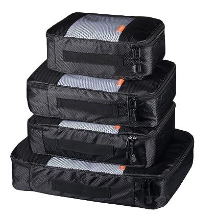 Coolzon® Packing Cubes Bolsa de Almacenamiento de Viaje Organizador Equipaje Organizador de Compresión Zapatos Set de 4 Packs Negro