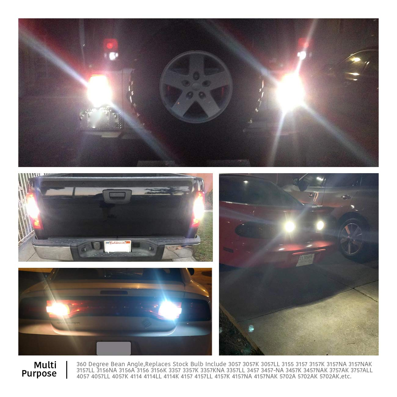 Newest Design LUYED 2 X 1500 Lumens Extremely Bright 3157 4014 78-EX Chipsets 3056 3156 3057 3157 LED Bulbs with Projector for Back Up Reverse Lights and Tail Brake Parking Lights,Xenon White