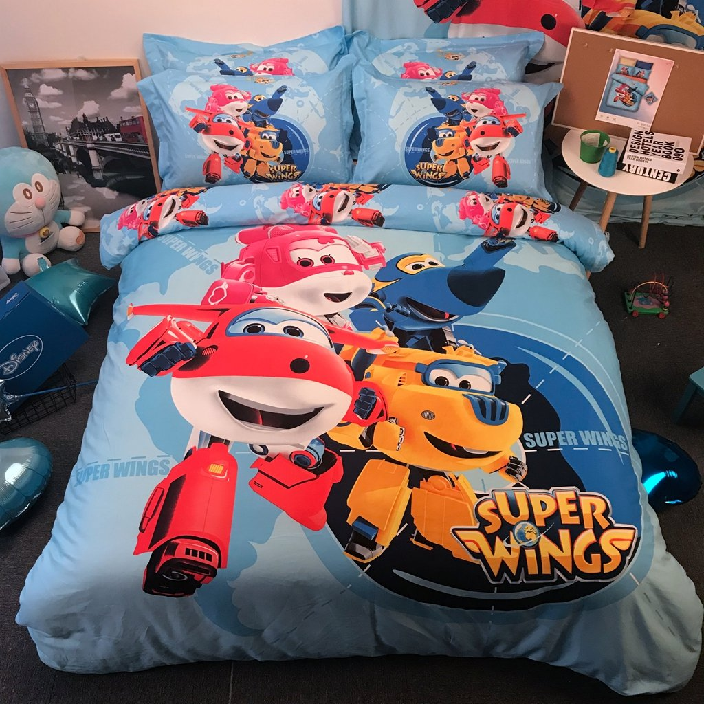 Casa 100% Cotton Kids Bedding Set Boys Super Wings Duvet Cover and Pillow case and Fitted Sheet,Boys,3 Pieces,Twin