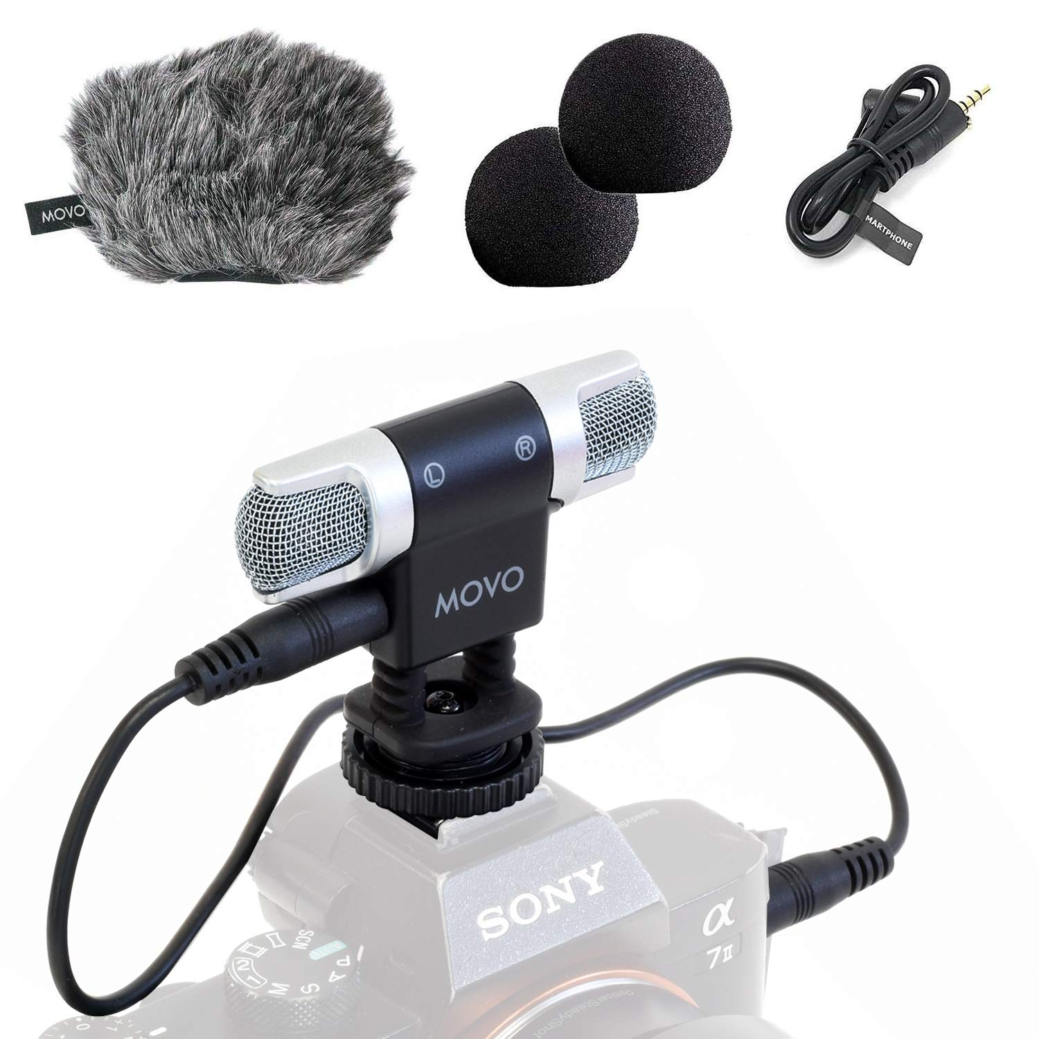 Movo VXR3000 Universal Stereo Microphone with Foam and Furry Windscreens and Travel Case - for iPhone and Android Smartphones, Canon EOS Nikon DSLR, and Action Cameras by Movo