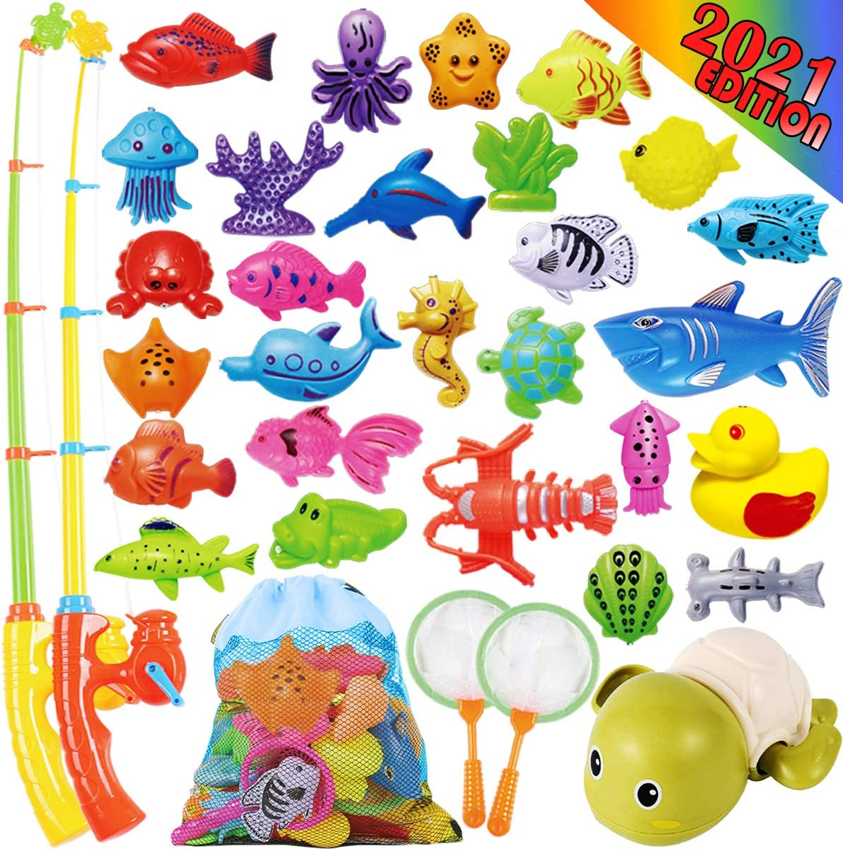 Cheffun Fishing Water Pool Toys for Kids - Bath Toy for Toddlers Magnetic Game Set Outdoor Indoor Carnival Party Water Table Fish for Kiddie Boys Girls Age 3 4 5 6 Years Old Gift Learning Pretend Play