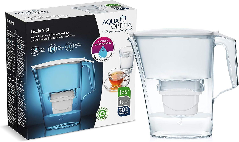 Bianco Aqua Optima Liscia Caraffa Filtro Acqua e Cartuccia Taglia Unica