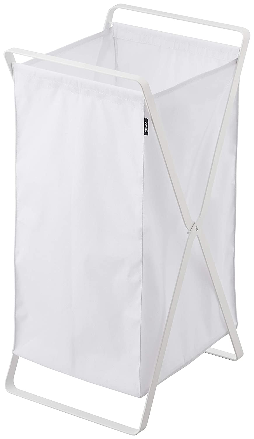 YAMAZAKI home 2484 Tower Laundry Basket-Foldable Storage Hamper Organizer, White