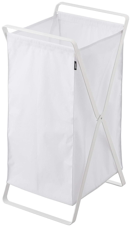YAMAZAKI home 2484 Tower Laundry Basket-Foldable Storage Hamper Organizer, White