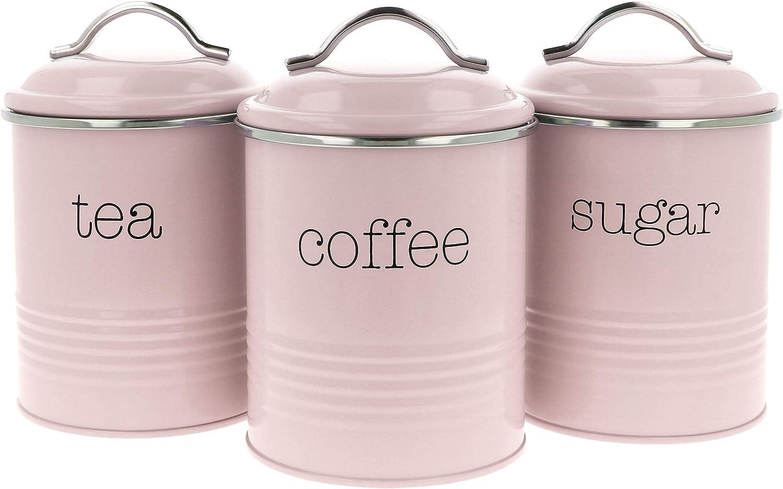 3PC thé café sucre de rangement cuisine boîtes bocal récipient tin set canister
