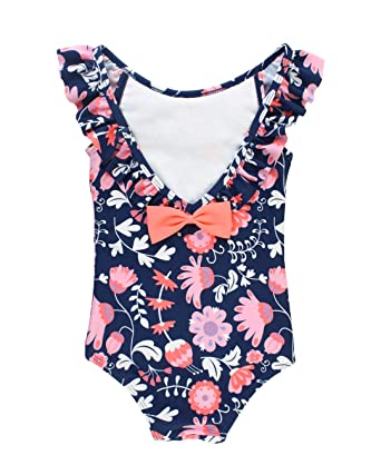 674d8509ac RuffleButts Baby Toddler Girls Floral One Piece Swimsuit with Ruffles -  12-18m