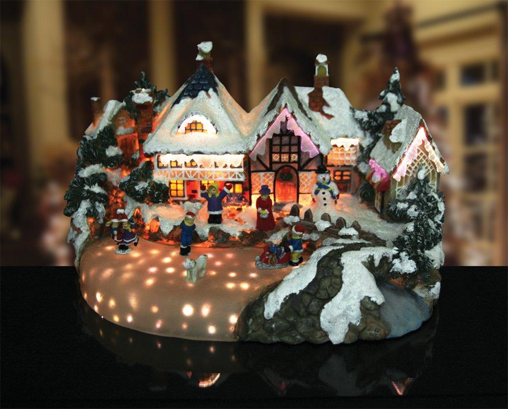 Amazon.com: Christmas Snow Village Ice Skaters Paradise Fiber ...