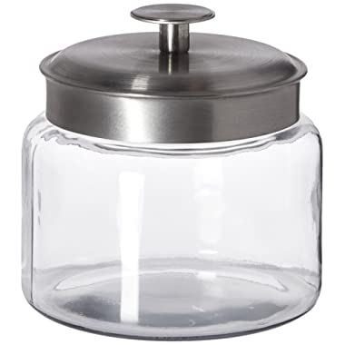 Anchor Hocking Montana Glass Jars with Fresh Sealed Lids, Brushed Metal, 48 oz (Set of 4)