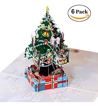 hilltop to cloud 6 pack 3d handmade merry christmas card greeting card christmas tree holiday cards - Hilltop Christmas