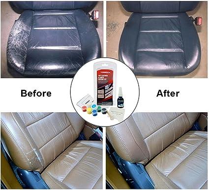 Cuero Restauración Kit Restauracion Tapicerias de Piel Tinte Reparación y Restauración Color para Cuero o Piel y Vinilo Interior Cleaner Limpieza de ...