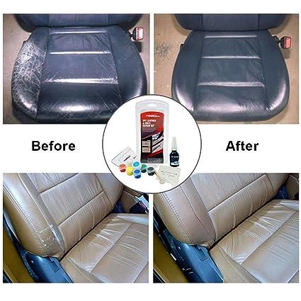 Kit de reparación de cuero, restauración de rasguños y grietas de manchas Kit de cambio de color de cuero líquido para sofá restaurador sofá asiento ...